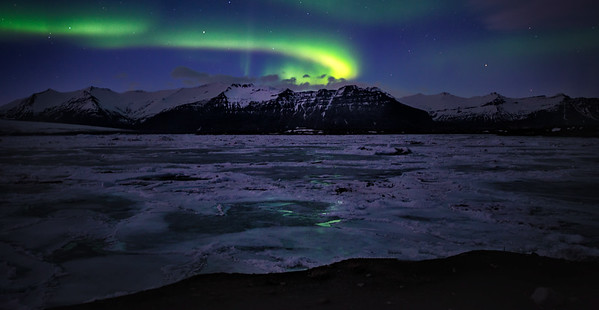 Northern Lights over Jarkusarlon Glacier Lagoon, Iceland