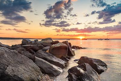 Sunset on the jetty in Jamestown, Rhode Island