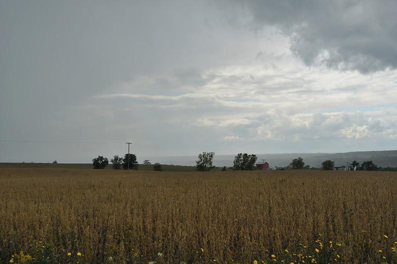 A rainstorm sweeps eastward across the Genesee Valley.  Between Nunda and Mount Morris, NY.  Nikon D5000 (2009).