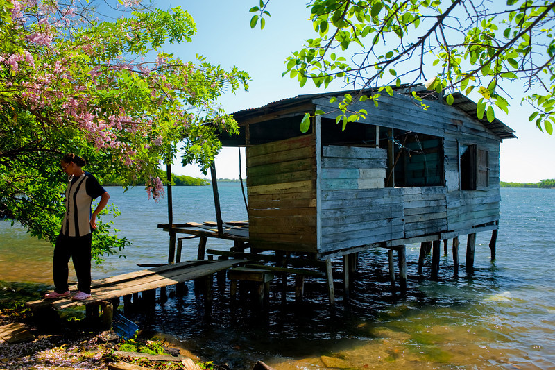 This is Grace's House. She used to be a very wealthy woman in Coxen Hole, married and happy.  She fell on some very hard times in her life.  From wealth to poverty.  No bathroom in her house over the water.  Use your imagination.