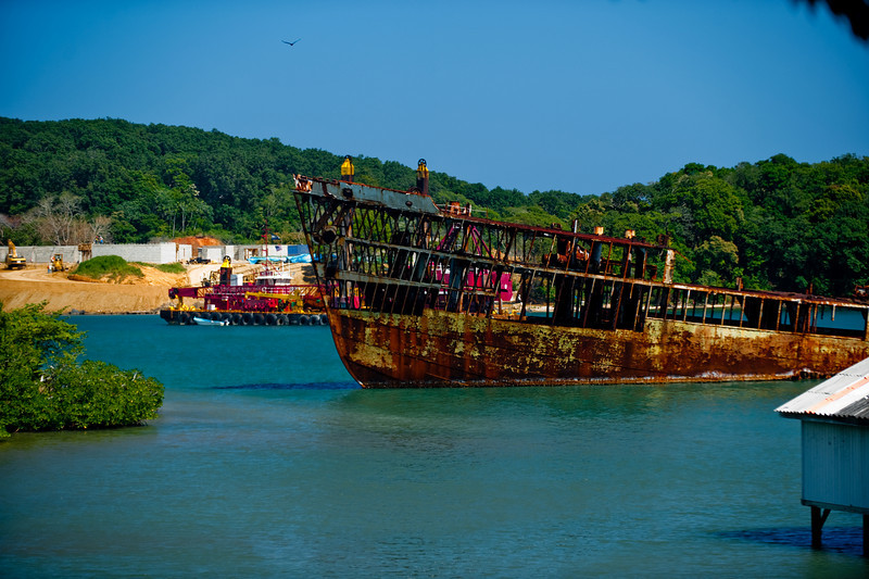One of many shipwrecks on the island