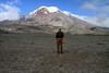 Viewing up the southwestern slope of Chimborazo - the tallest peak in Ecuador, rising to about 20,577 ft. (6,272 ft.), with a glacial covering - Chimborazo province.