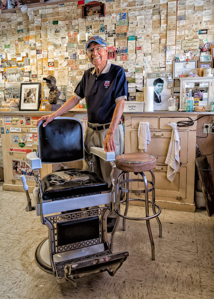 Angel Delgadillo of Angel's Barber Shop on Historic Route 66 in Seligman, AZ
