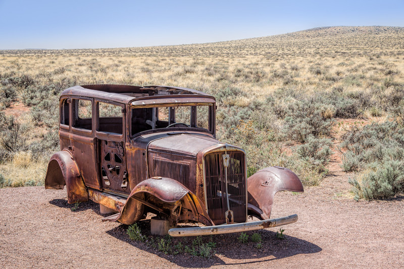 Abandoned 1931 Studebaker Sedan in the Petrified Forest National Park/Painted Desert Along the former path of Route 66