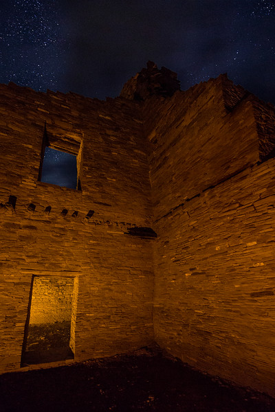 Pueblo Bonito Interior by Candlelight with Cloudy Night Sky, Chaco Culture National Historical Park, NM