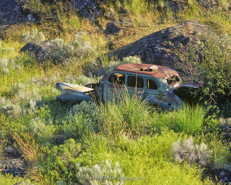 S.4944 - old car in meadow, Northrup Canyon, Steamboat Rock State Park, WA.