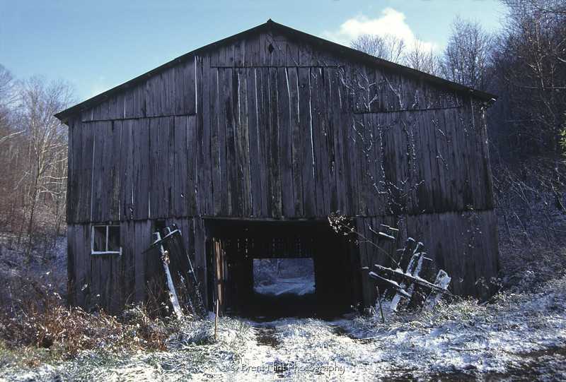S.2602 - tobacco barn after an early snow, Wolfe County, KY.