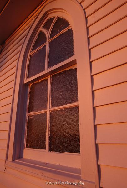 S.3535 - morning light on church window, Mt. Zion United Methodist Church, Mercer County, KY.