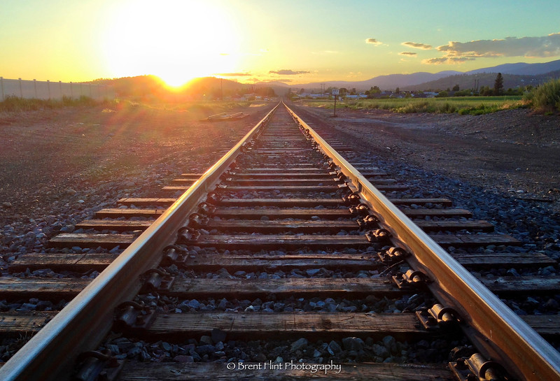 DF.2881 - railroad track at sunset, Kootenai County, ID.