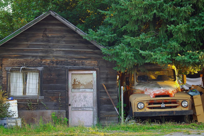DF.194 - old truck and shed, Athol, ID.