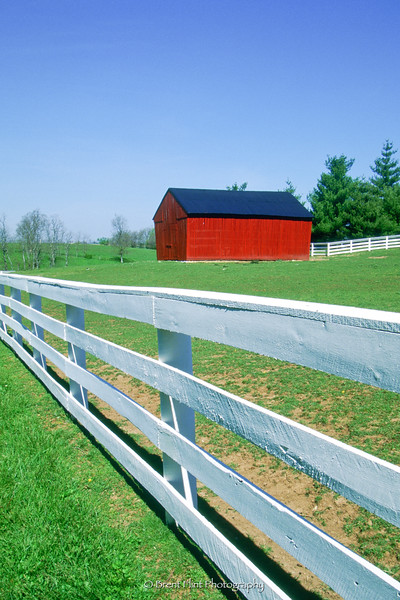 S.2925 - corncrib and white fence, Shaker Village at Pleasant Hill, KY.