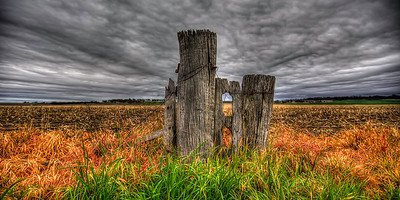 An old gatepost bordering a field in Allora Queensland Australia. ~WIDE VIEW~