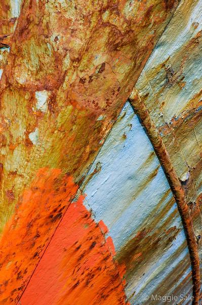 Orange, blue and rust