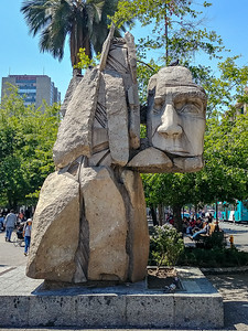 Sculpture honoring the Mapuche People