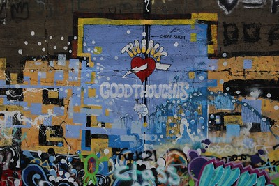 "You know, I never actually read this graffiti until your photo.  ""Think Good Thoughts""  A nice message captured well."