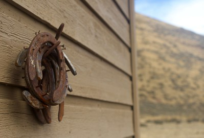Nice, unfortunately the shed wall wasn't a bit more authentic western...  As you play with the narrow depth of field, play with stopping the aperture down to something like F8 or F10 which will provide a bit more focus on the horseshoes.