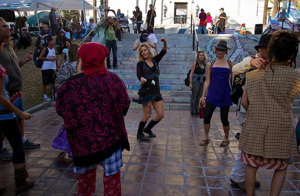 Demonstrators dance at the Occupy LA movement going on at City Hall Los Angeles Calif. Sunday Oct. 23, 2011. Photo: Jose Romero