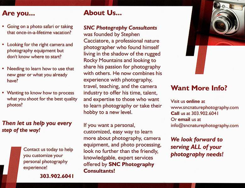 <h2>If you want a personal, customized, easy way to learn more about photography, camera equipment, and photo processing, look no further than the friendly, knowledgeable, expert services offered by SNC Photography Consultants!</h2>