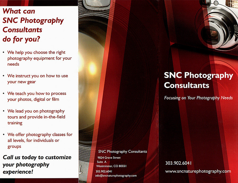 <h3>What can SNC Photography Consultants do for you?</h3><br> We offer photography classes for all levels, for individuals or groups.<br> We help you choose the right photography equipment for your needs.<br> We instruct you on how to use your gear.<br> We teach you how to process your photos.<br> We lead you on photography tours and provide in-the-field training.<br>
