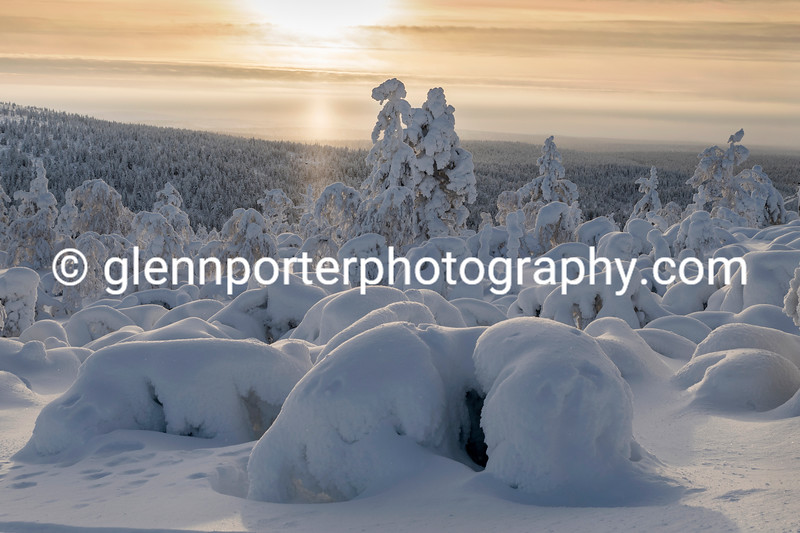 Snow and ice formations taken from the ski slopes of Saariselka, Finland.