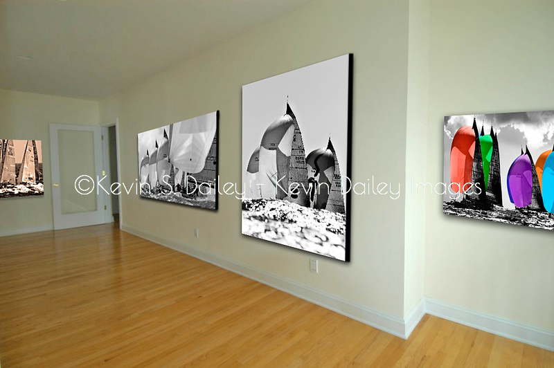 Sailing prints in a gallery