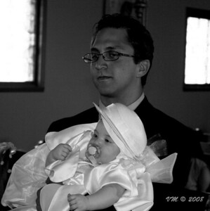 God Father with his newly baptized God child (Elefteria's Baptism 27-July-2008)