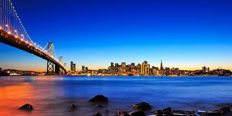 Next to the Bay Bridge and San Francisco Skyline