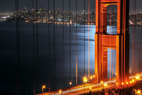 Golden Gate Bridge and Supermoon Shine