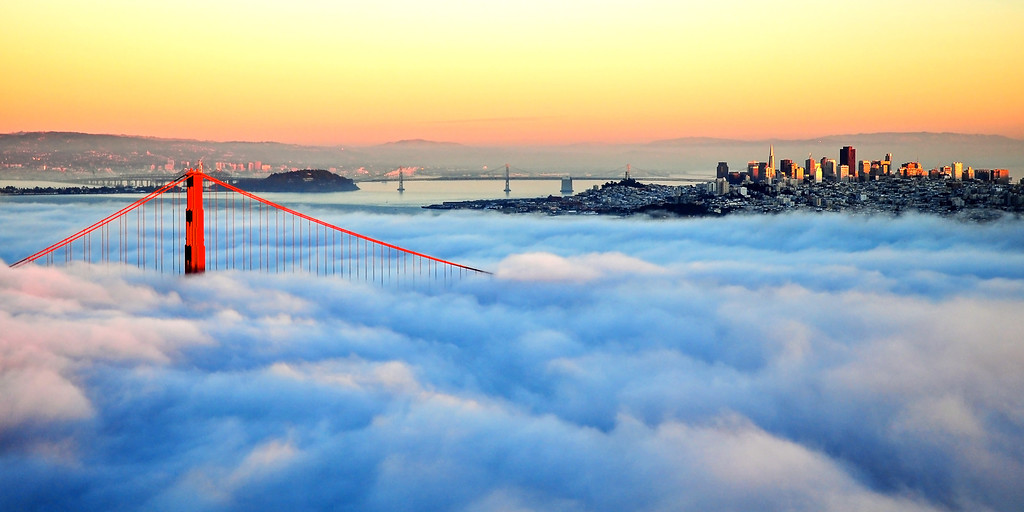 Golden Gate Bridge in Fog at Sunset