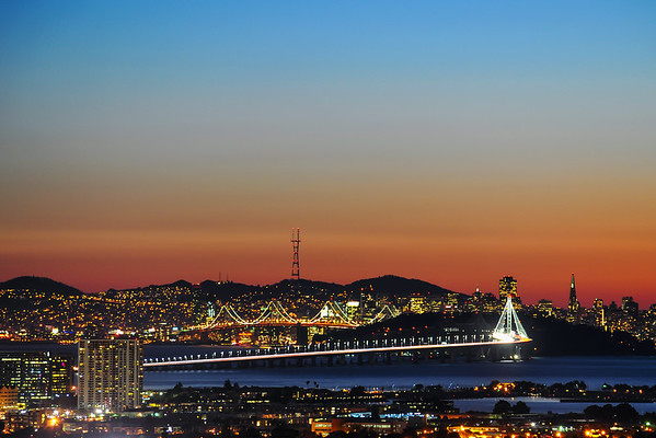 Beautiful Sunset over the New Bay Bridge and San Francisco