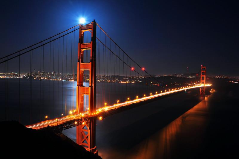Supermoon Shining on Top of the Golden Gate Bridge