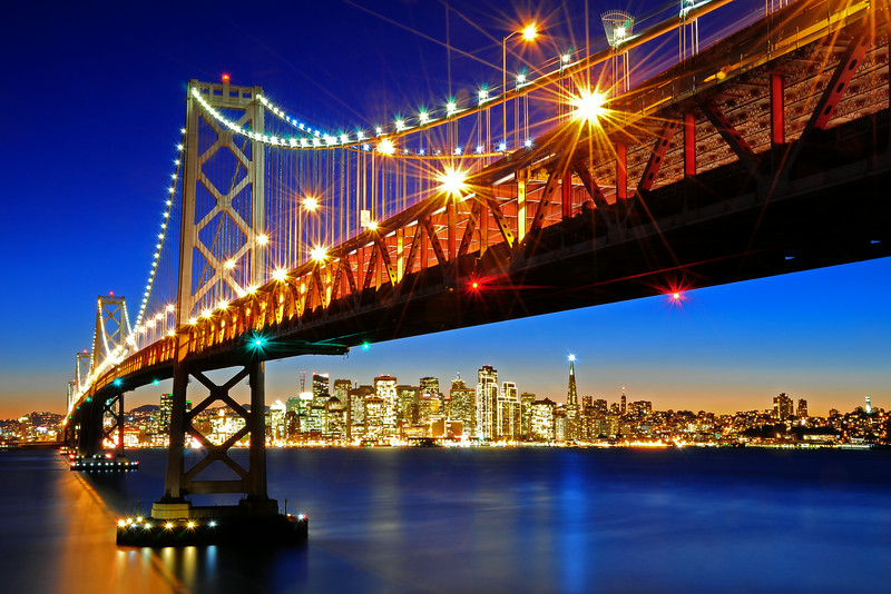 Below the Bay Bridge and San Francisco Skyline