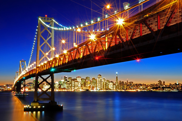 Below the Bay Bridge and San Francisco Skyline