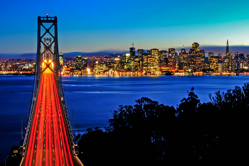 Above the Bay Bridge and San Francisco Skyline