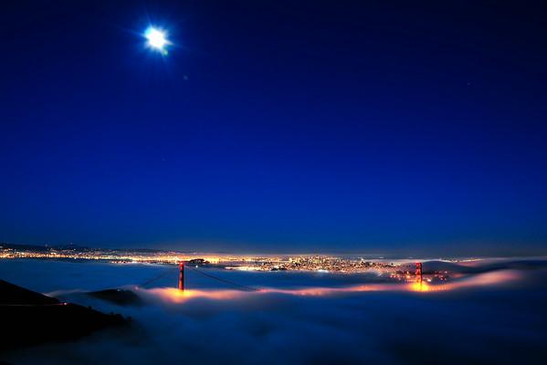 Moon over San Francisco in Fog