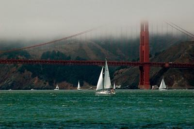 Sailing under the Golden Gate Bridge in San Francisco Bay.