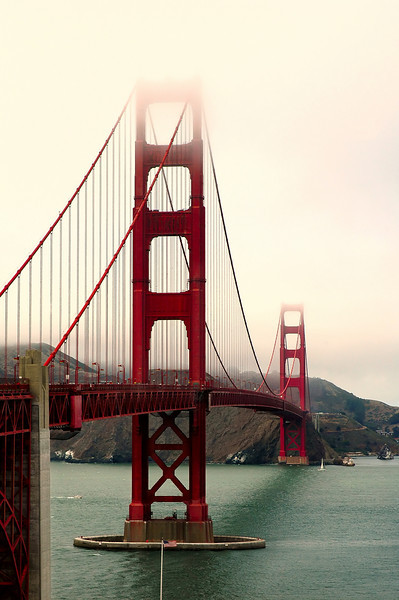 The beautiful Golden Gate Bridge in San Francisco, reaching into the fog!