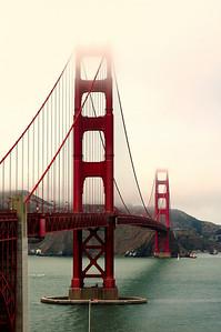 The beautiful Golden Gate Bridge in San Francisco, reaching into the fog!