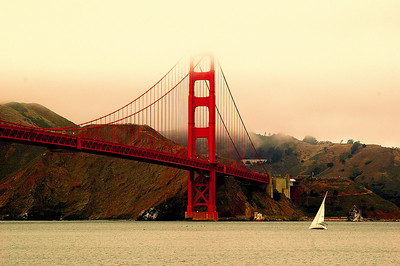 A sunset glow on the Golden Gate Bridge in San Francisco.