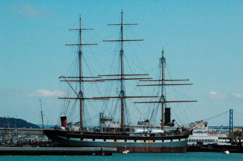 Old sailing vessels in San Francisco Bay, great history there.