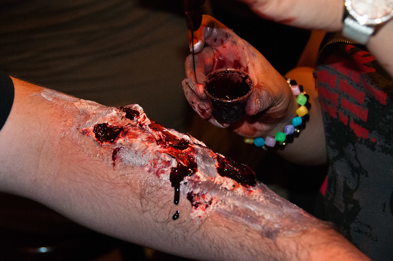 Oozing blood is very important when you want that authentic zombie look.