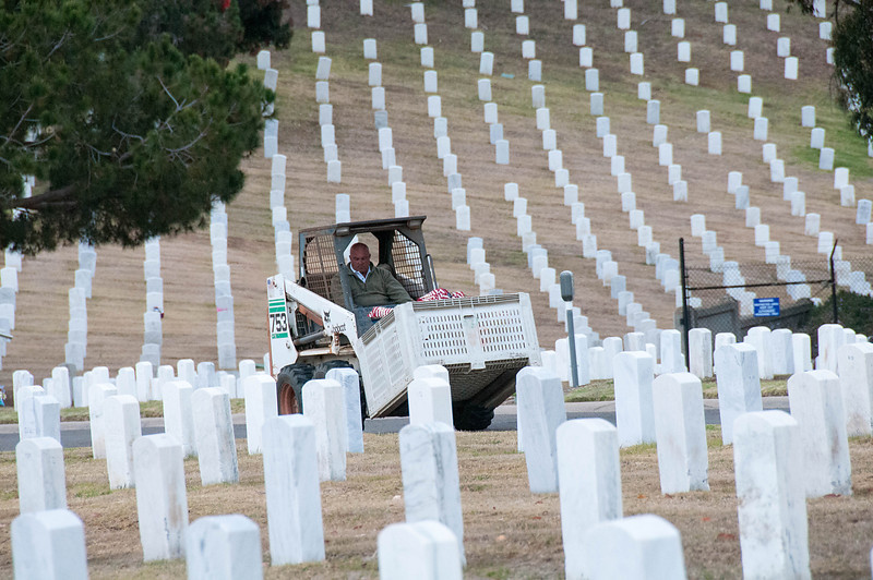 Every Saturday before Memorial Day thousands of Girl, Cub and Boy Scouts converge on Fort Rosecrans National Cemetery to plant flags on the 80,000 graves.