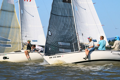 Guano Happens (right), skippered by Lyle Mayer, challenges Thunderstruck (left) on the race to the mark in the 2019 Santana 20 Class Championship practice race. Russell Petersen is skipper on Thunderstruck.