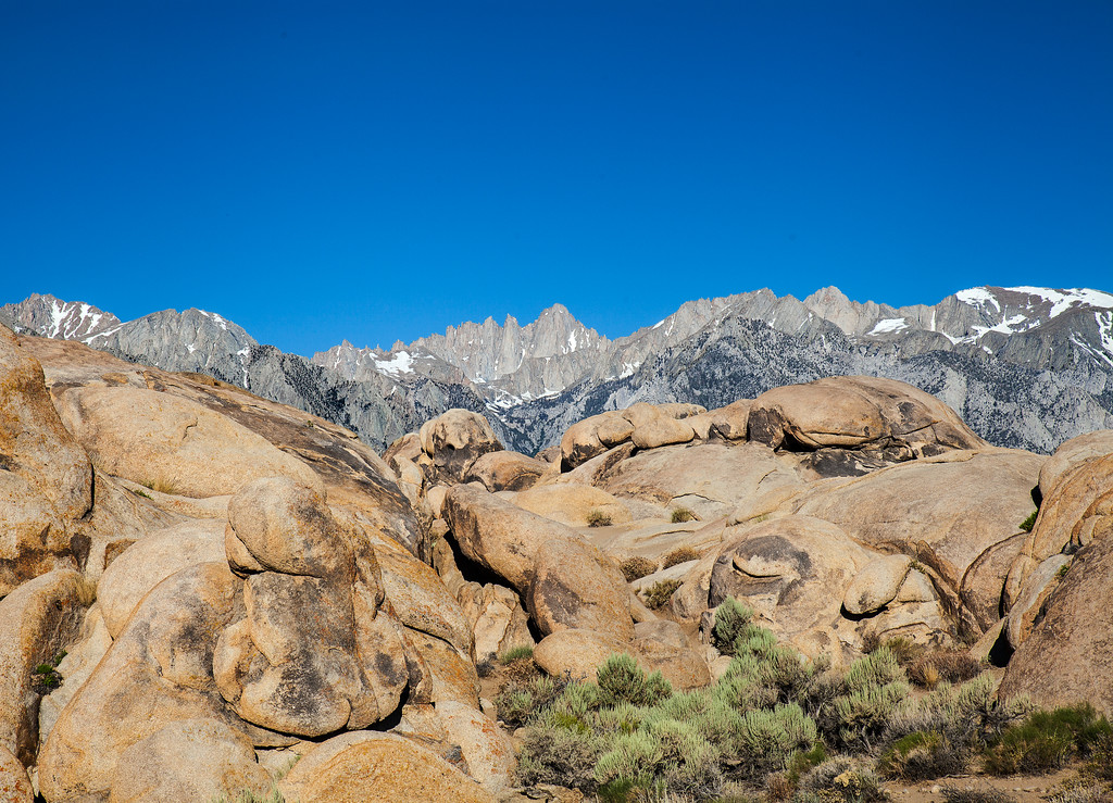 Mount Whitney and the Sierra Nevada seen from the Alabama Hills, Lone Pine, California USA