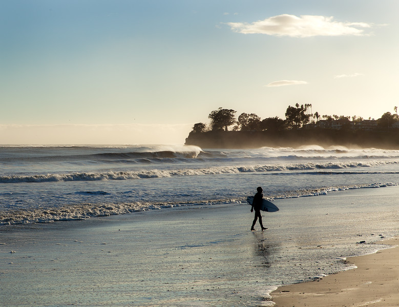 Winter surf at sunset, Ledbetter Beach, Santa Barbara, California