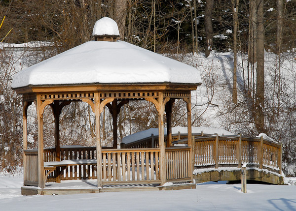 """<div class=""""jaDesc""""> <h4> Snow-covered Gazebo - December 31, 2012 </h4> <p> I took this shot while my dog Coby was romping nearby in the foot deep snow.  Location: Trout Ponds, Newark Valley, NY.</p> </div>"""