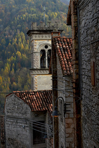 Church Steeple in the Mountains Erto, Italy