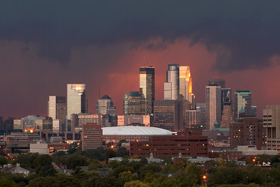 Minneapolis Skyline as storm approaches shortly after sunset