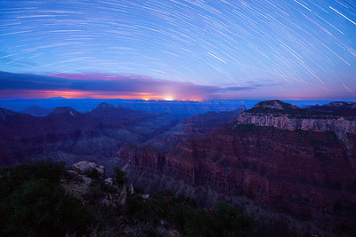 "Star Trails Over North Rim - Grand Canyon NP, Arizona * Nikon D5, 14-24mm, f/2.8, ISO 1240 * This image was taken on my recent trip to the North Rim.  Along with shooting the Milkyway, star trails are the ubiquitous subject at night.  There are many techniques for collecting the light for later processing in Photoshop.  In this case, the image is a compilation of 10 four minute exposures stacked together so it looked like a forty minute long exposure.   * There are many challenges shooting this way, not the least are composition and focus.  Both are problematic because you simple can't see... it's a guess until you start shooting.  As hard as it is for us, it was practically impossible for film photographers because you couldn't see tests out in the field.  You would set your camera up, shoot your images, and hope for the best until you film got back from the processor.  Truly and exercise in patience.   * Before we start saying ""woe is me,"" just remember what it was like for those that didn't have our technological improvements.  This certainly adds perspective. ____________________ * #Nikon #Nikonphotography #naturephotography #night #astrophotography #startrail #nightphotography #landscapephotography #grandcanyon #arizona"