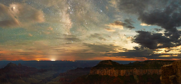 Night With Milkyway and Moonglow - North Rim Grand Canyon NP, Arizona * Nikon D5, 14-24mm f/2.8, f/2., 30 sec, ISO 12,800 * I've imagined a Milkyway over the Grand Canyon image for about five years, since I got interested in night photography. I tried to get that shot once about four years ago with less than satisfactory results. Despite lots of intention to try again, scheduling a visit in the right night/moon illumination conditions is a challenge. Well, it all came together last weekend. * While the moon hadn't set yet, making night imagery a challenge, I'm helped by the relatively good amount of cloud cover leftover from the afternoon monsoon showers. Normally I don't like clouds when shooting the Milkyway. In this case, it helps a lot, making a really complex image. Not only that, the clouds really help lower the Moon's intensity by hiding it to the right of this image. About an hour later with the moon below the horizon, the image here is a lot different. * If you're wondering, the two lights on the canyon wall are mostly likely hikers making a descent into Phantom Ranch on the Colorado River. This is pretty impressive considering the lights are about 20 miles away from where I'm shooting. ____________________ * #Nikon #Nikonphotography #naturephotography #milkyway #night #astrophotography #grandcanyon #arizona #northrim